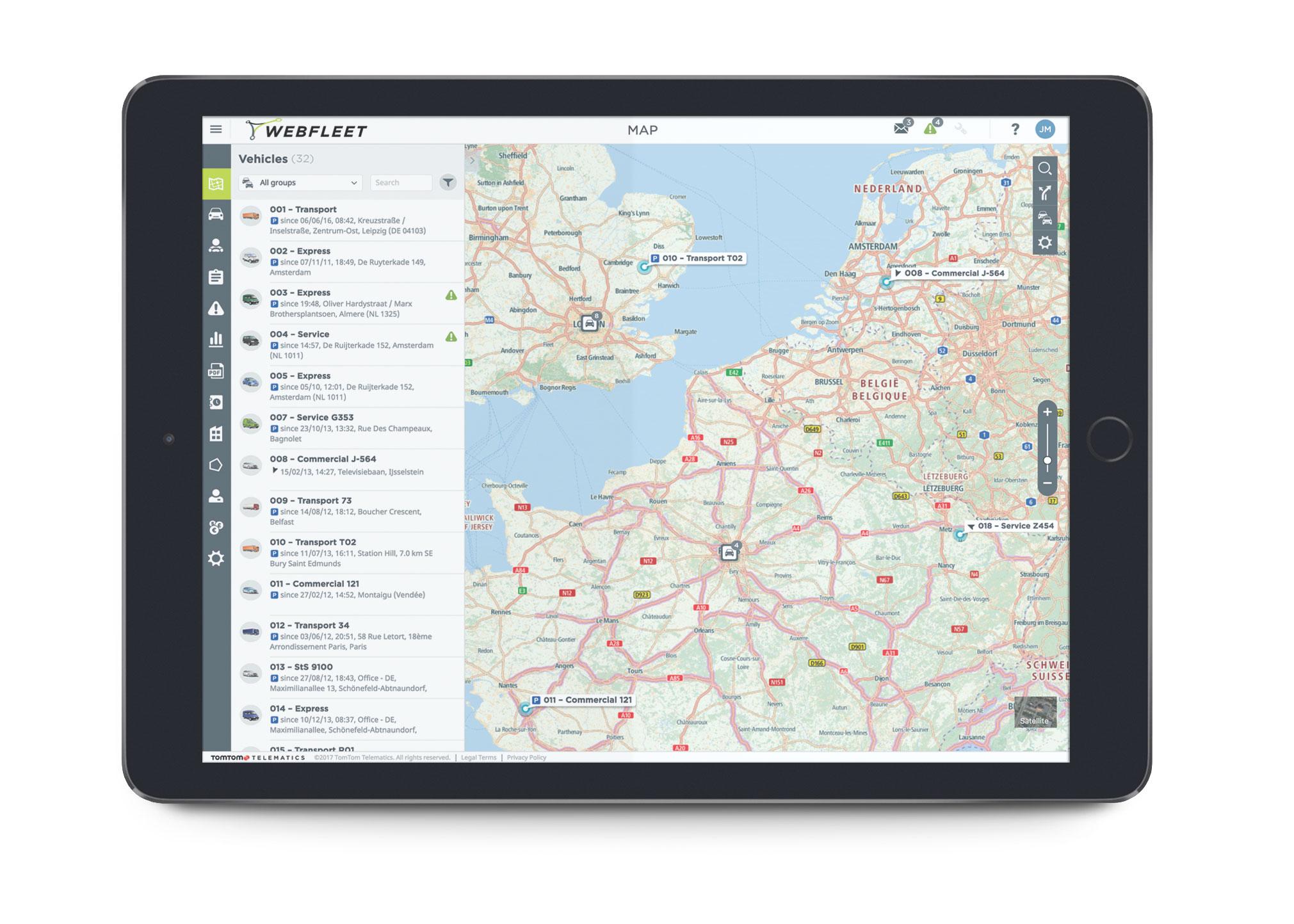 Das webfleet Tap - Die EU Map