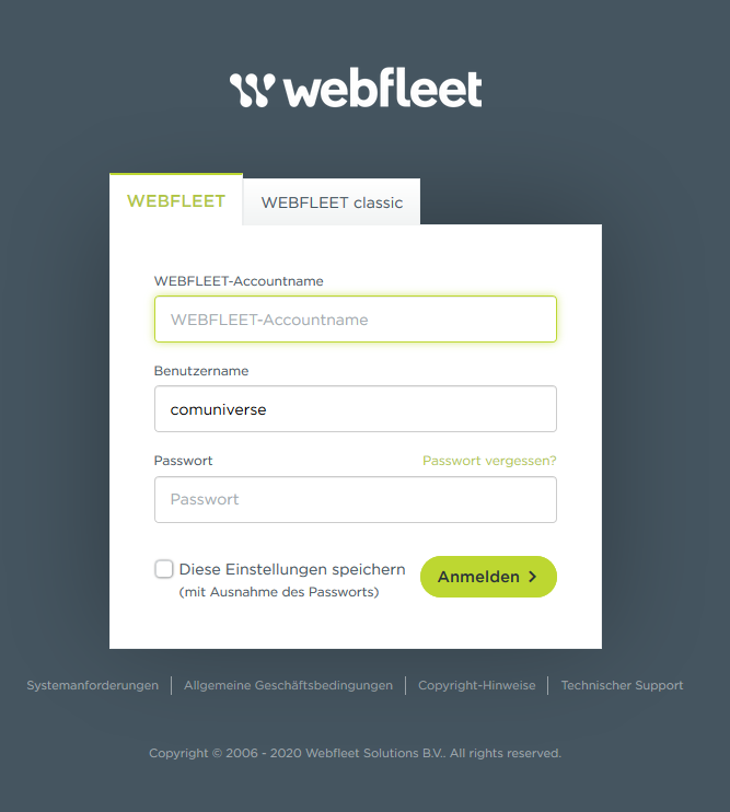 Webfleet Login - Benutzermanagement