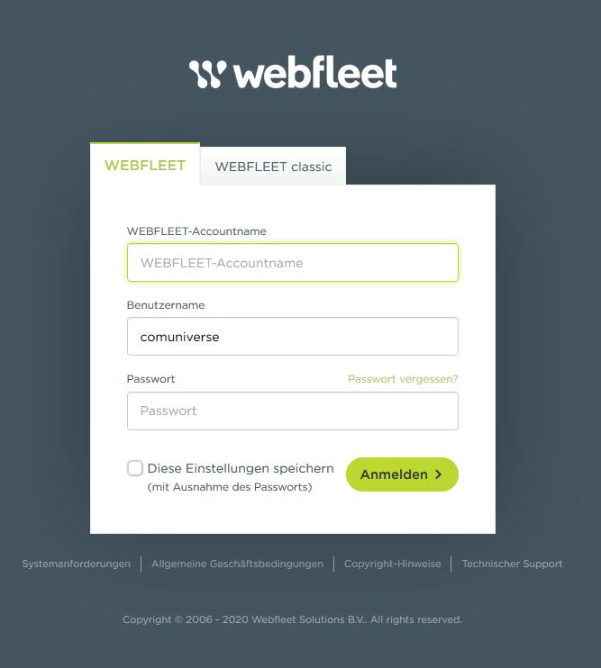 Webfleet Login - Benutzermanagement
