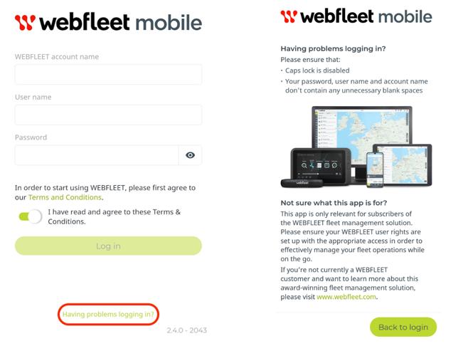 Webfleet Mobile App- Die Hilfefunktion bei Loginproblemen